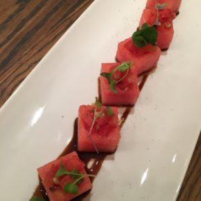Bruschetta Tomato Stuffed Watermelon Cubes with 50 year Balsamic