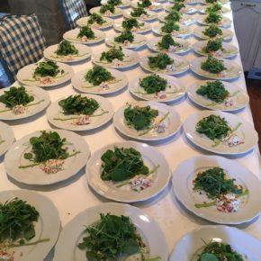 King Crab & Watercress Salad with Pistachios, Sweet Corn & Black Truffle Vinaigrette