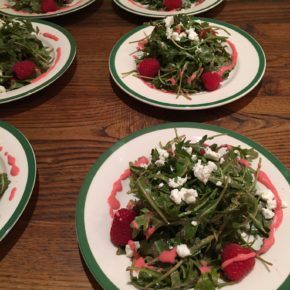 Raspberry and Arugula Salad with Goat Cheese, Pistachios and Raspberry Vinaigrette