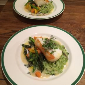 Roasted Chilean Sea Bass, Sweet Pea Risotto, Meyer Lemon Beurre Blanc